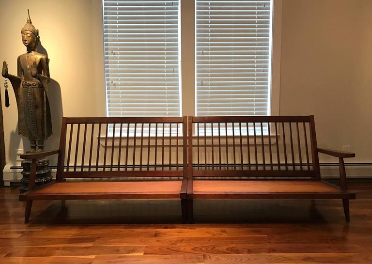 American Early Two Sectional Walnut Settees by George Nakashima For Sale