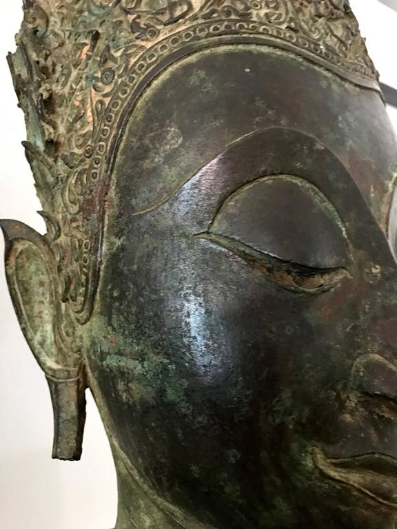 18th Century Antique Bronze Buddha Head on Stand from Thailand For Sale
