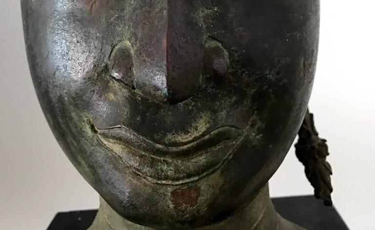 Antique Bronze Buddha Head on Stand from Thailand For Sale 2