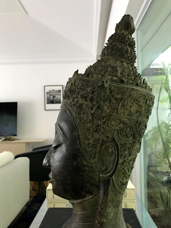 Wood Antique Bronze Buddha Head on Stand from Thailand For Sale