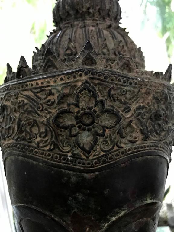Antique Bronze Buddha Head on Stand from Thailand For Sale 1