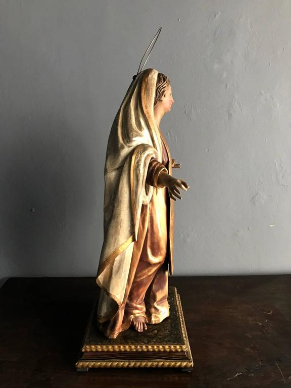 Mexican Antique Spanish Colonial Statue Santo Madonna For Sale