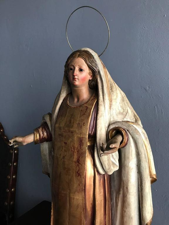 Metal Antique Spanish Colonial Statue Santo Madonna For Sale
