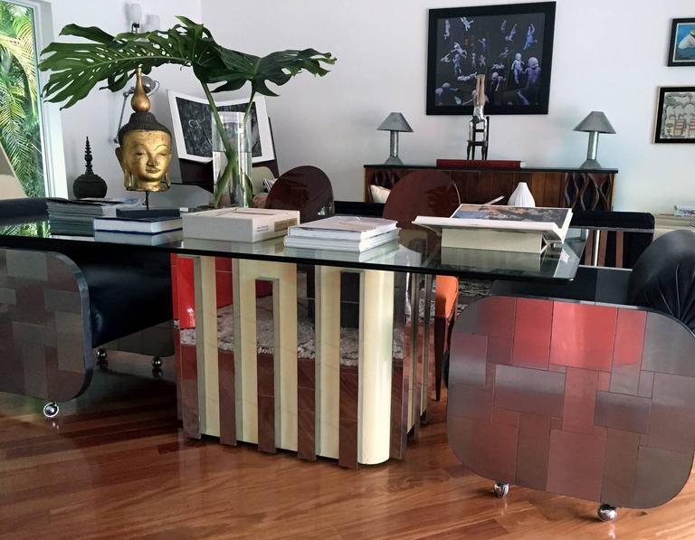 Glass Top Cityscape Dining Table Paul Evans In Excellent Condition For Sale In North Miami, FL