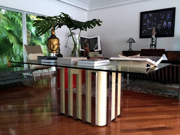 American Glass Top Cityscape Dining Table Paul Evans For Sale