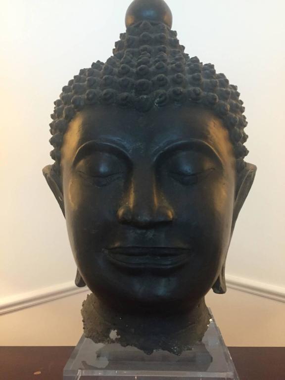 20th Century Pair of Massive Antique Bronze Buddha Head Thai Lana Kingdom For Sale