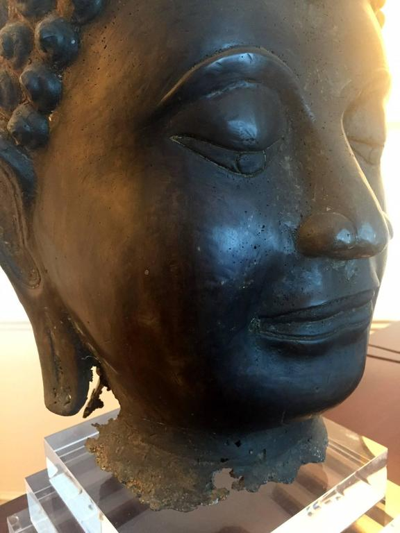 Pair of Massive Antique Bronze Buddha Head Thai Lana Kingdom 5