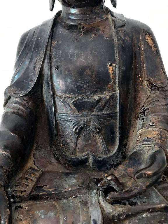 Cast Large and Fine Antique Bronze Buddha For Sale