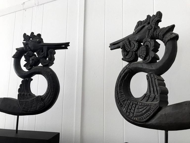 Pair of Antique Wood Carving Burmese Ox Cart Ornaments In Good Condition For Sale In North Miami, FL