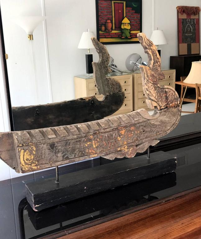 Two Antique Hong Bird Roof Carvings From Thailand For Sale