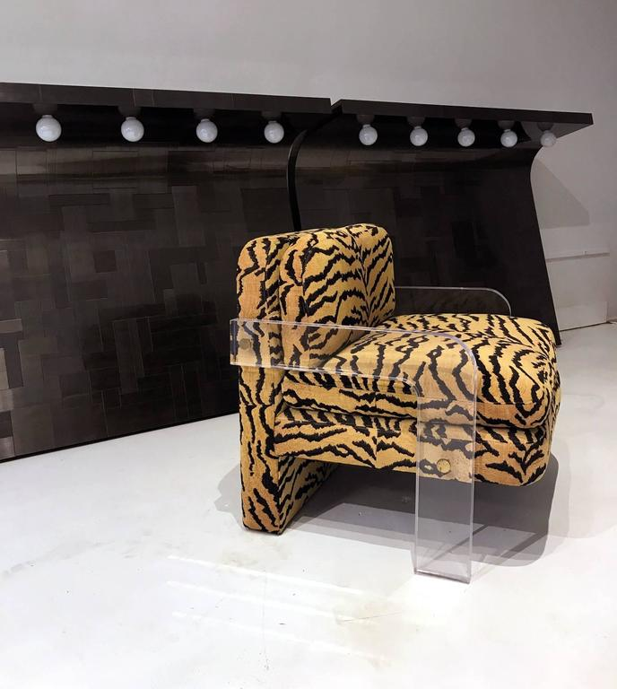 A Fantastic Cubist Lounge Chair Constructed In Lucite With Exposed Brass  Hardware, Designed By Vladimir