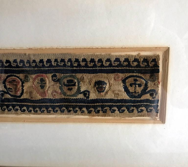 Archaistic Framed Antique Coptic Textile For Sale