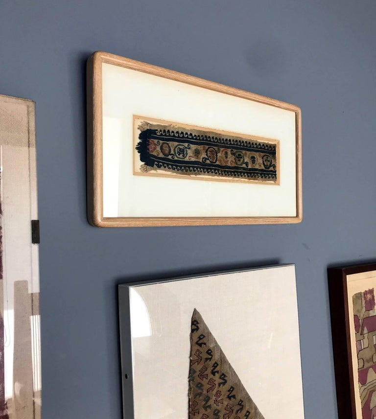 Woven Framed Antique Coptic Textile For Sale