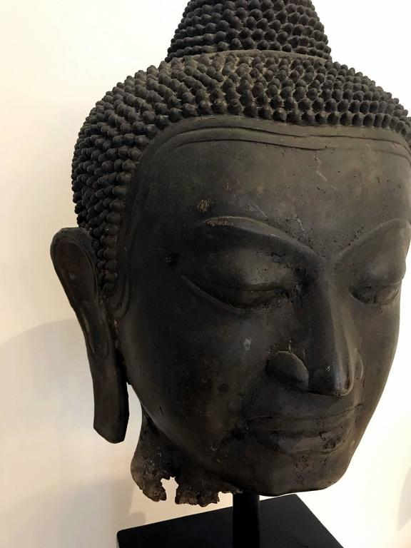 Large Bronze Buddha Head With Stand Thailand For Sale At