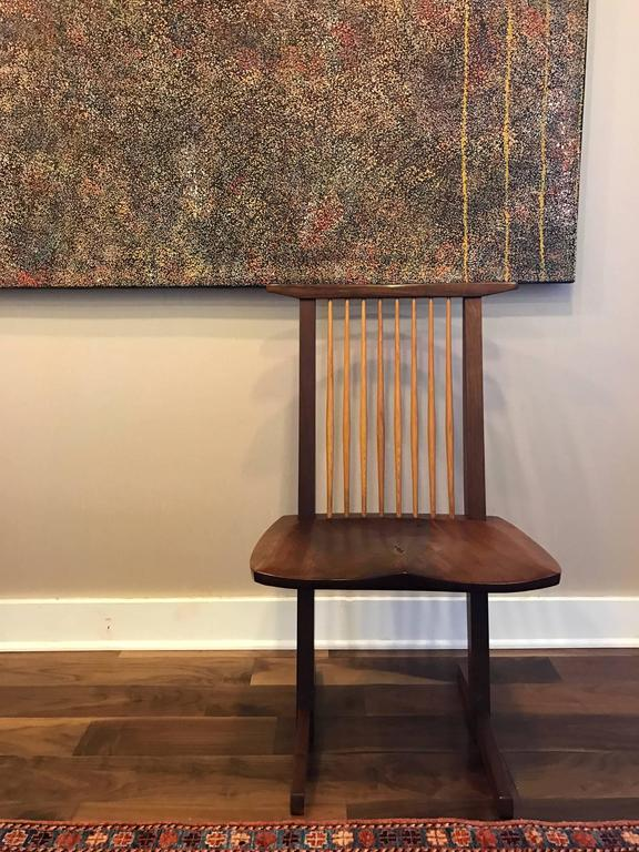 A Special Walnut Conoid Chair by George Nakashima For Sale 2