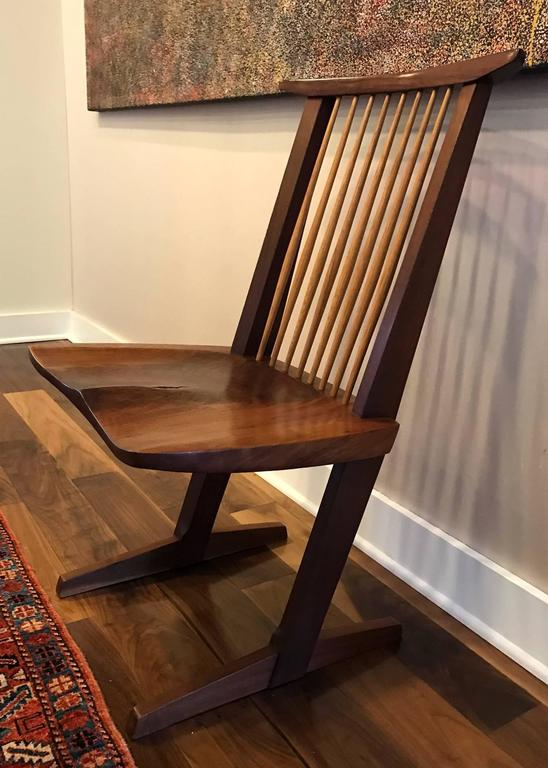 A Special Walnut Conoid Chair by George Nakashima For Sale 3