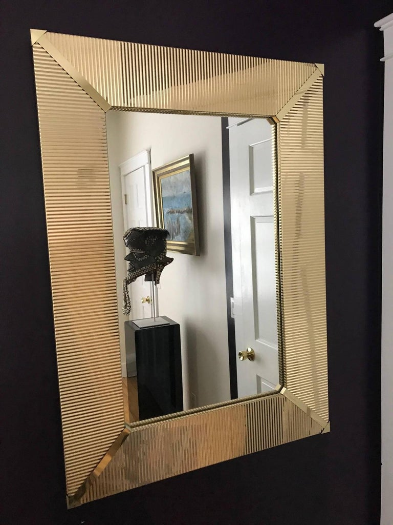 Large Brass Wall Mirror At 1stdibs