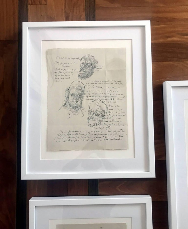 A suite of three ink drawing on paper with writings in Spanish by Mexican artist Jose Luis Cuevas, one of the leading modern artists to break away from the Muralists movement in Mexico.  Cuevas is known for a complex and somewhat dark style that