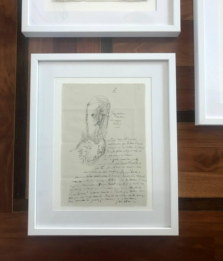 Modern Group of Three Works on Paper by Jose Luis Cuevas, framed For Sale