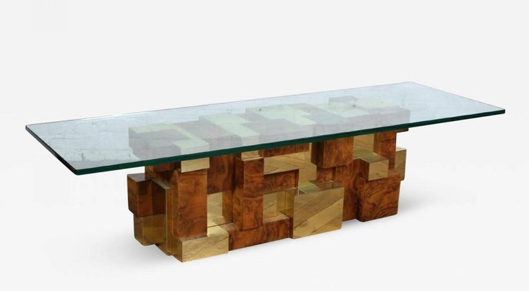 A cityscape multifaceted coffee table by Paul Evans for Directional Inc, circa 1970s. A rarely seen model with square block construction in brass ad burl in a pixel effect.
