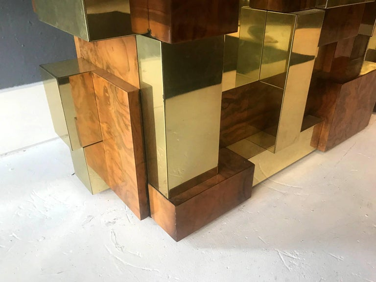 Brass Rare Model Cityscape Coffee Table by Paul Evans for Directional For Sale