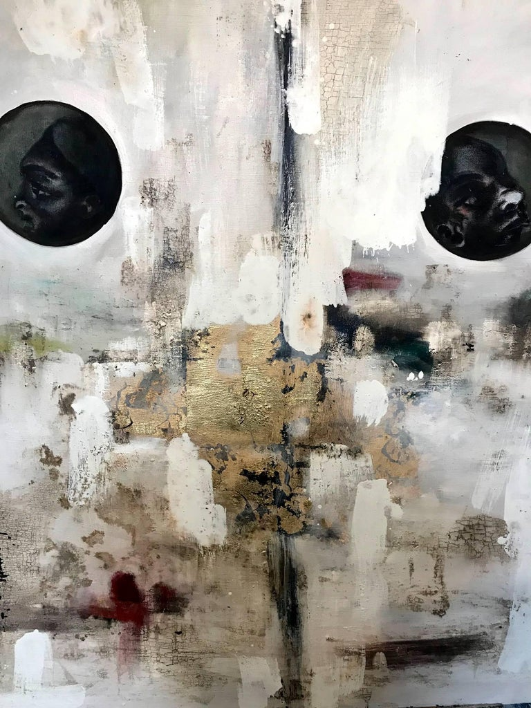 Artist: Joaquin Pineiro Born: Mexico City, Mexico. Live and work in San Miguel de Allende Medium: Oil and gold leaf on canvas Title: Le Origen Size: 50 x 50 x 2  Mexican artist Joaquin Pineiro creates 2D and 3D abstract-expressionism work