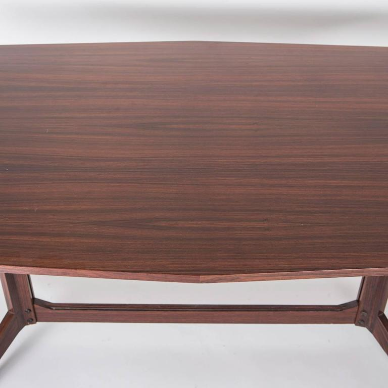 Wood Rosewood Desk Manufactured by Poggi For Sale