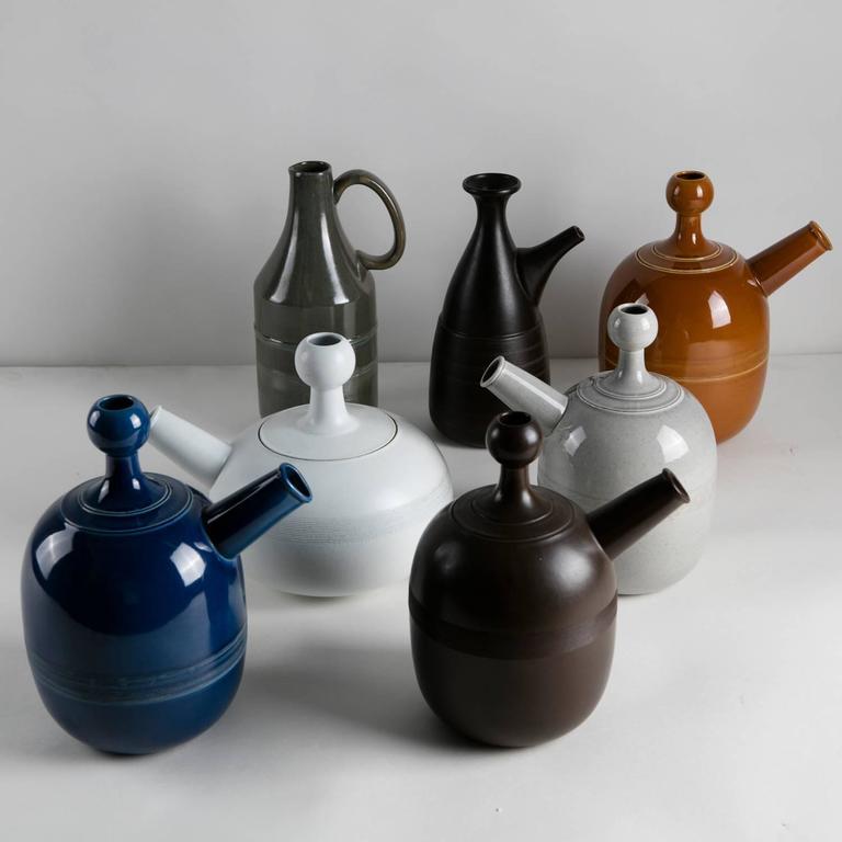 Italian Unique Set of Seven Ceramic Carafes by Ambrogio Pozzi for Pozzi For Sale