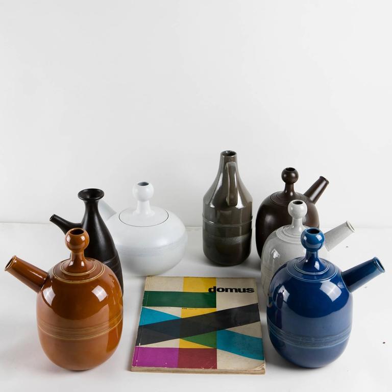 Unique Set of Seven Ceramic Carafes by Ambrogio Pozzi for Pozzi For Sale 1