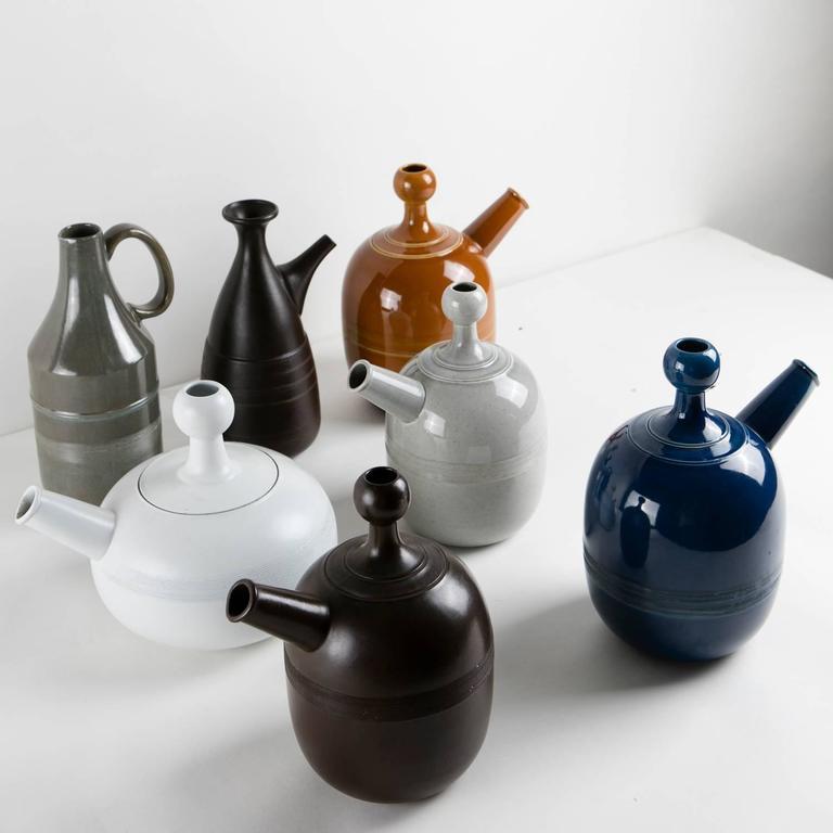 Mid-20th Century Unique Set of Seven Ceramic Carafes by Ambrogio Pozzi for Pozzi For Sale