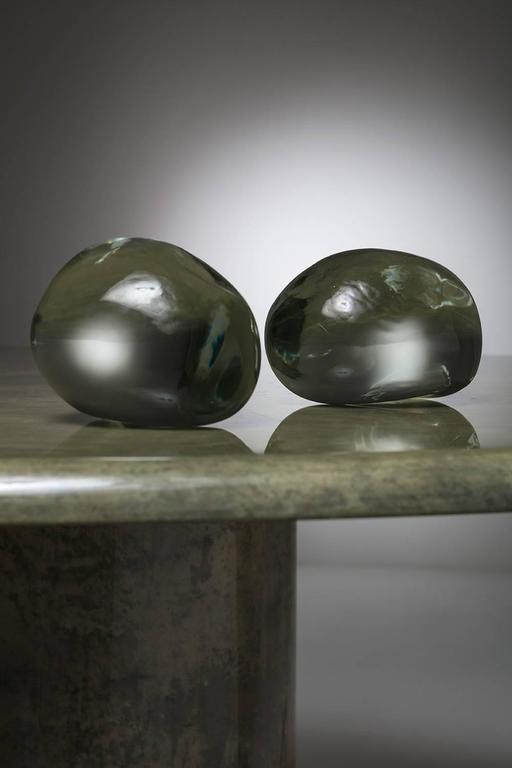 Late 20th Century Pair of Solid Glass Stones by Barbini For Sale