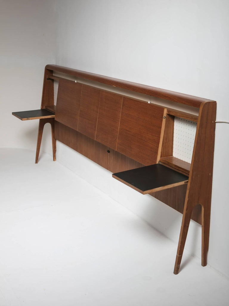 Italian 50s Plywood Headboard In Good Condition For Sale In Milan, IT