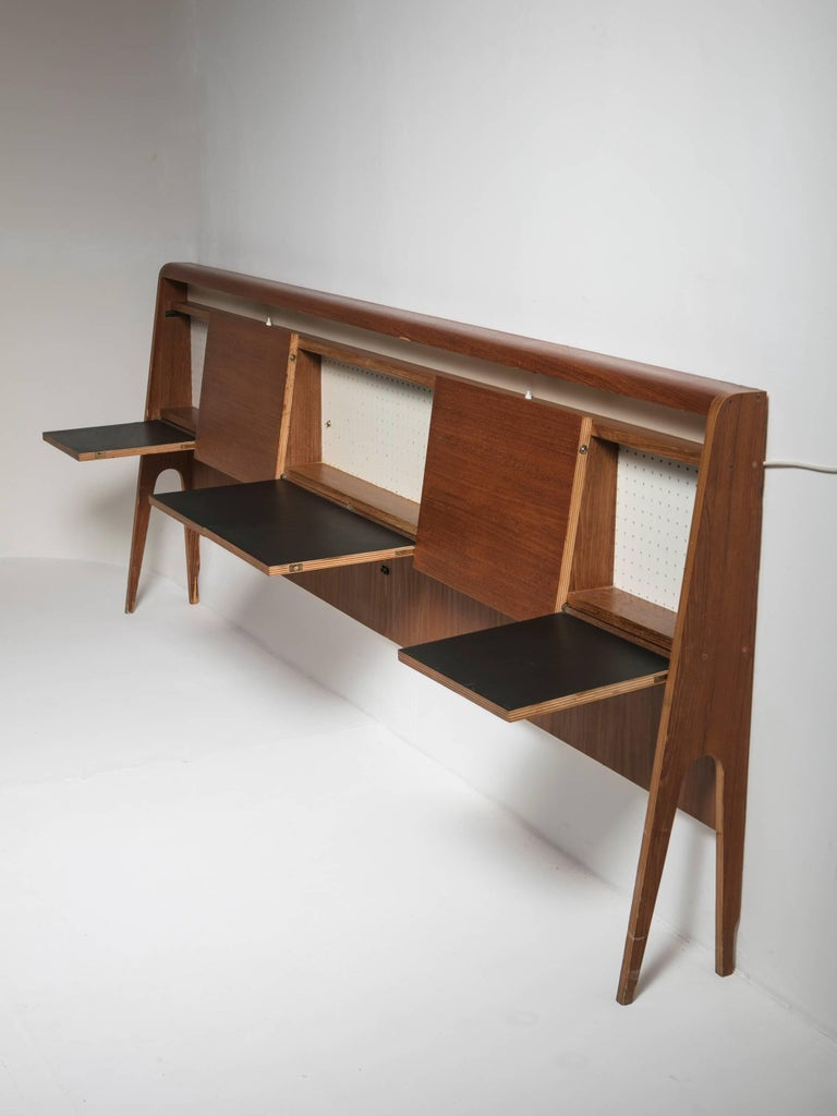 Mid-Century Modern Italian 50s Plywood Headboard For Sale