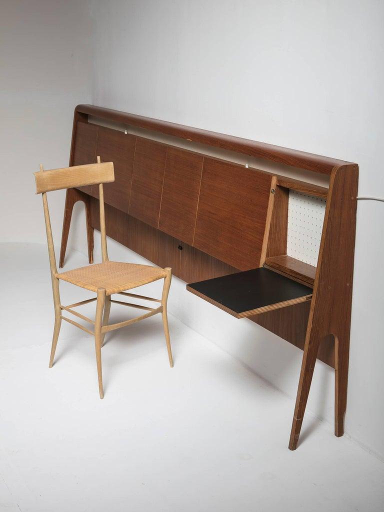 Mid-20th Century Italian 50s Plywood Headboard For Sale