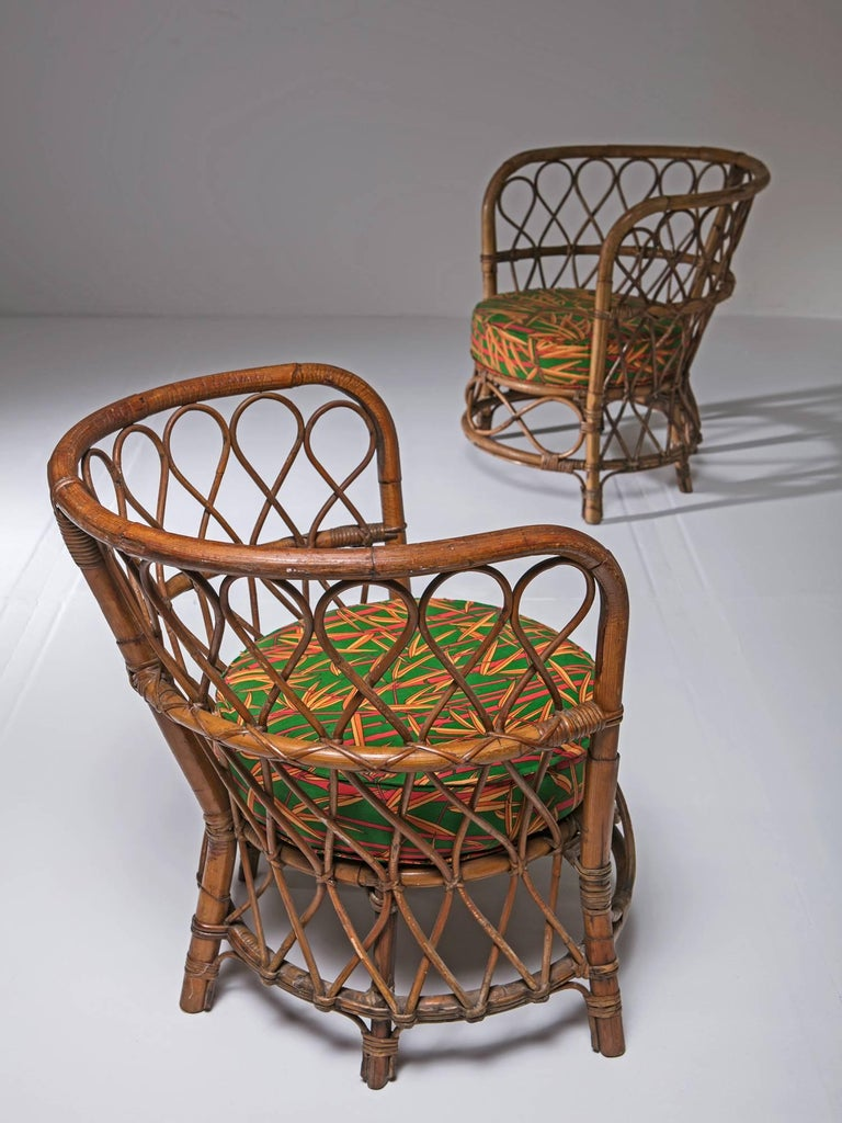 Set of Two Italian 1950s Wicker Chairs In Good Condition For Sale In Milan, IT