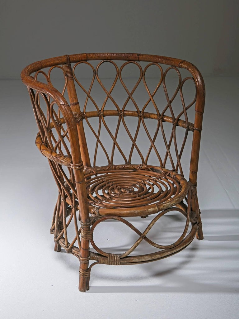 Mid-Century Modern Set of Two Italian 1950s Wicker Chairs For Sale