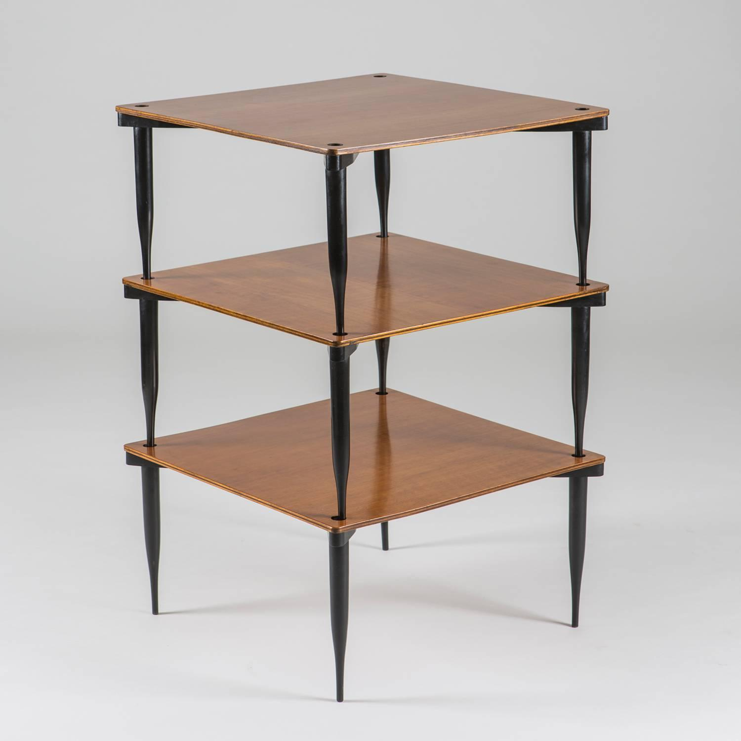 Set of three quot t stackable tables by vico magistretti for