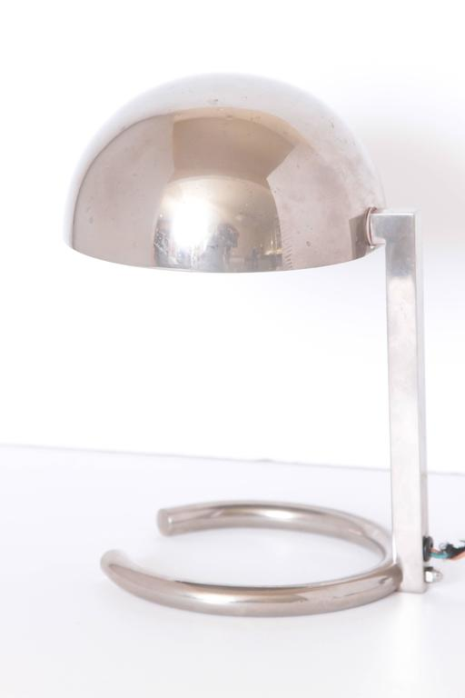 Machine Age Art Deco Jacques Adnet French midcentury table / desk lamp  Iconic Adnet streamline modernist lamp design. Nickel-plated brass. Model # 407, France  circa 1950 production, per