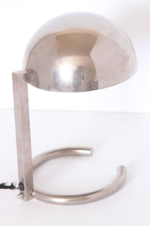 Mid-Century Modern Machine Age Art Deco Jacques Adnet French Midcentury Table / Desk Lamp For Sale