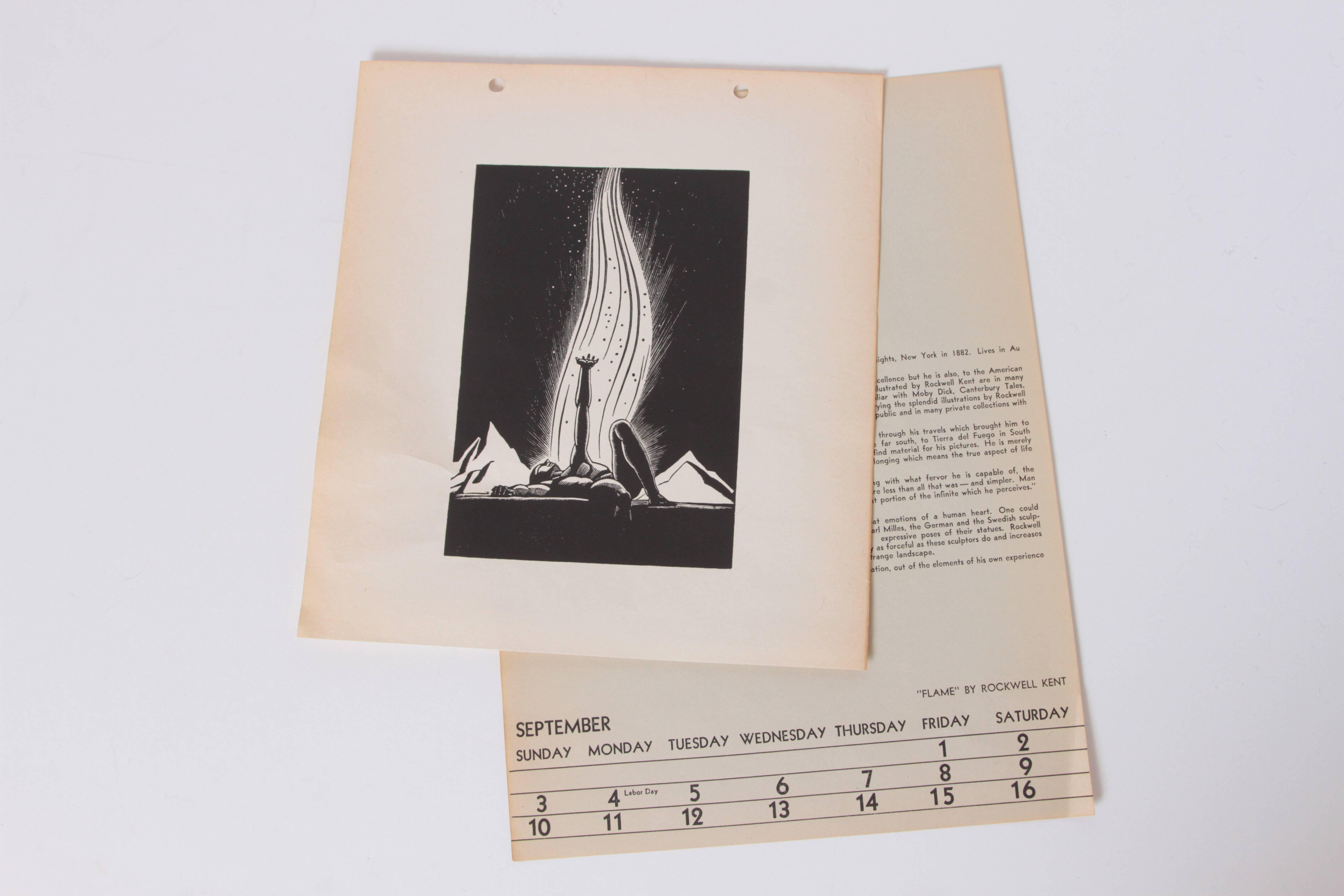 Art deco 1939 rockwell kent flame original block print calendar for sale at 1stdibs
