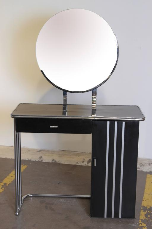 Machine age art deco royalchrome dressing table by
