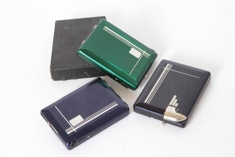 Metal Machine Age Art Deco Magic Case Automatic Cigarette Case and Lighter For Sale