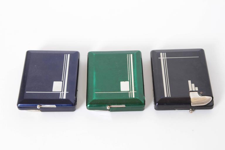 American Machine Age Art Deco Magic Case Automatic Cigarette Case and Lighter For Sale