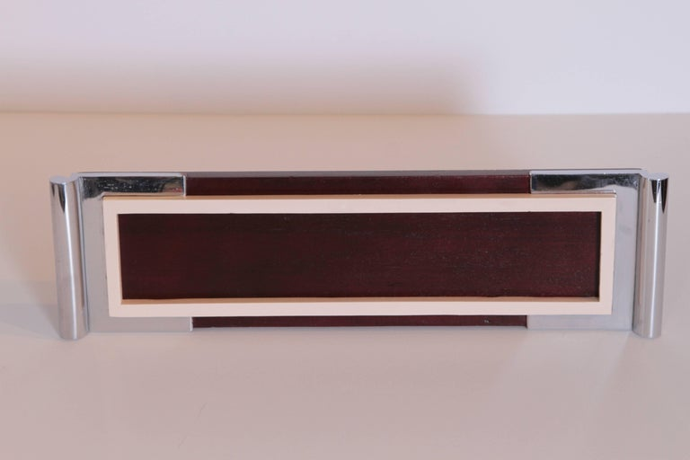 Mid-20th Century Art Deco Machine Age Asprey Drinks Tray in Mahogany/Ivory Lacquer/Chrome For Sale