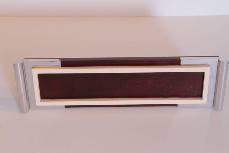 Art Deco Machine Age Asprey Drinks Tray in Mahogany/Ivory Lacquer/Chrome For Sale 4
