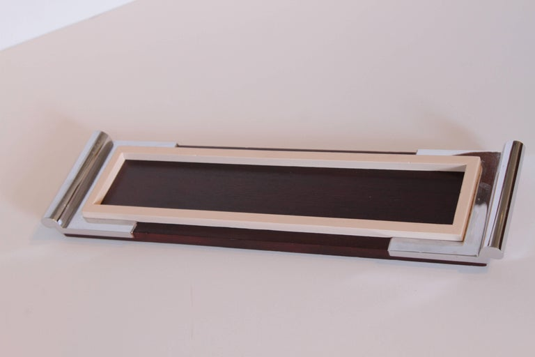 Art Deco Machine Age Asprey drinks tray in mahogany / ivory lacquer / chrome  Killer cocktail tray from the Iconic British luxury Firm Asprey, circa 1930s. Beautiful construction, Signed.  There is no glass liner, and likely wasn't, but could