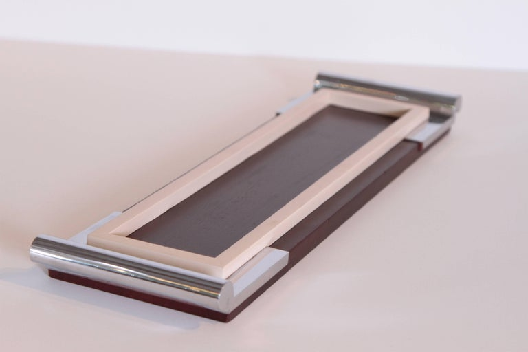 Art Deco Machine Age Asprey Drinks Tray in Mahogany/Ivory Lacquer/Chrome In Good Condition For Sale In Dallas, TX