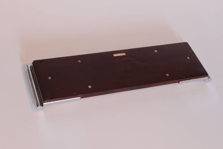 Art Deco Machine Age Asprey Drinks Tray in Mahogany/Ivory Lacquer/Chrome For Sale 2