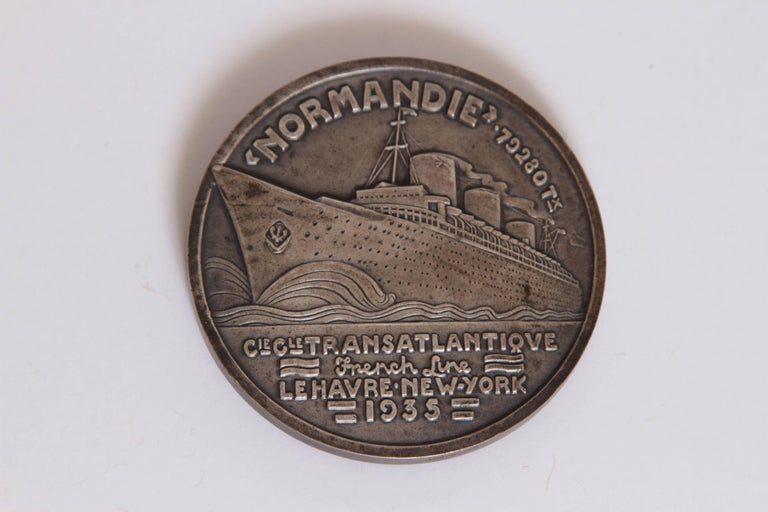 Mid-20th Century Art Deco French Normandie Medallion by Jean Vernon Silvered Bronze For Sale