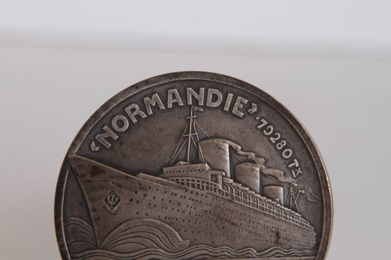 Art Deco French Normandie Medallion by Jean Vernon Silvered Bronze For Sale 4